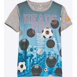 Name it - T-shirt dziecięcy 116-152 cm. Szare t-shirty chłopięce z nadrukiem Name it, z bawełny, z okrągłym kołnierzem. W wyprzedaży za 49,90 zł.