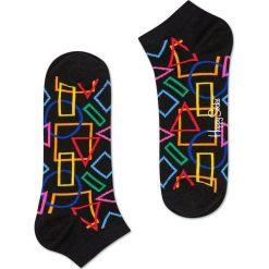 Happy Socks - Stopki Geometric. Czarne skarpetki damskie Happy Socks, z bawełny. W wyprzedaży za 19,90 zł.
