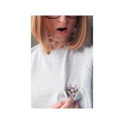 Bluza raglan kieszonka kotek słodziak. Szare bluzy damskie One mug a day, s, z aplikacjami, z bawełny. Za 139,00 zł.