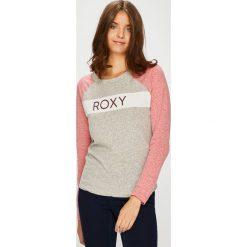 Roxy - Bluzka. Szare bluzki asymetryczne Roxy, m, z nadrukiem, z bawełny, z okrągłym kołnierzem. W wyprzedaży za 129,90 zł.