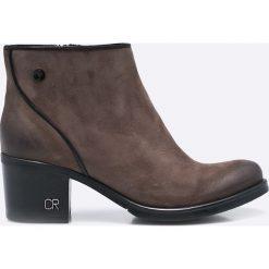 Carinii - Botki. Różowe buty zimowe damskie marki Carinii, z materiału, z okrągłym noskiem, na obcasie. W wyprzedaży za 239,90 zł.