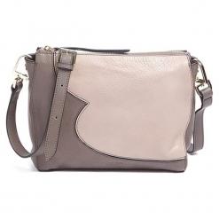 Skórzana torebka w kolorze szaro-różowym - (S)25 x (W)19 x (G)10 cm. Czerwone torebki klasyczne damskie Tosca Blu, w paski, z materiału. W wyprzedaży za 359,95 zł.