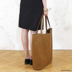 Mega shopper torba ruda na zamek. Brązowe shopper bag damskie Pakamera. Za 170,00 zł.