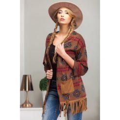 Swetry damskie: Blezer z frędzlami brązowy 9763