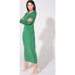 Zielona Sukienka Dzianinowa Maxi Drapowana na Boku. Czerwone długie sukienki marki House, l, z napisami, sportowe, sportowe. Za 139,90 zł.