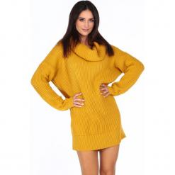 Sweter z golfem oversizowy musztardowy 0208. Pomarańczowe golfy damskie marki Fasardi. Za 89,00 zł.