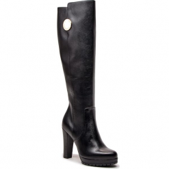 Kozaki EMPORIO ARMANI - X3O158 XF255 00002 Black. Szare buty zimowe damskie marki Emporio Armani, l, z nadrukiem, z bawełny, z okrągłym kołnierzem. Za 1489,00 zł.