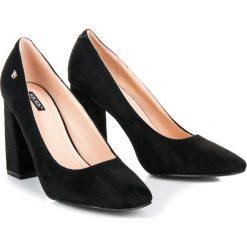 Buty ślubne damskie: Czarne czółenka na słupku NAYELI