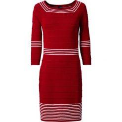 Sukienka dzianinowa bonprix ciemnoczerwono-biały. Zielone sukienki dzianinowe marki bonprix, w kropki, z kopertowym dekoltem, kopertowe. Za 89,99 zł.