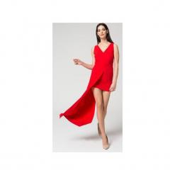 Mosali - Sukienka z Przedłużonym Bokiem M040. Czerwone długie sukienki marki Mosali, na imprezę, m, wizytowe, z asymetrycznym kołnierzem, z długim rękawem, asymetryczne. Za 159,00 zł.