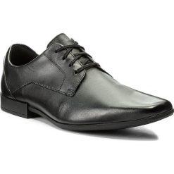 Półbuty CLARKS - Glement Lace 261223117 Black Leather. Czarne derby męskie Clarks, z materiału. Za 299,00 zł.