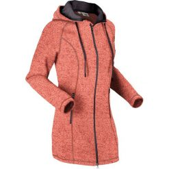 Długa bluza z dzianiny polarowej, długi rękaw bonprix łososiowo-szary melanż. Czerwone bluzy polarowe bonprix, melanż, z długim rękawem, długie. Za 149,99 zł.