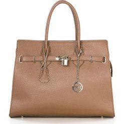 Torebki klasyczne damskie: Skórzana torebka w kolorze jasnobrązowym – 38 x 29 x 13,5 cm