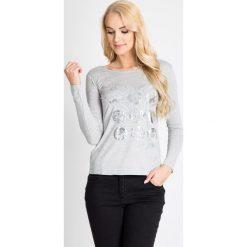 Bluzki damskie: Szara bluzka z metalicznym nadrukiem QUIOSQUE