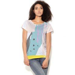 Colour Pleasure Koszulka damska CP-034  26 miętowo-żółto-biała r. XXXL-XXXXL. Białe bluzki damskie marki Colour pleasure. Za 70,35 zł.