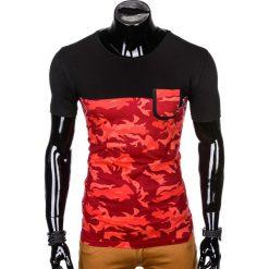 T-SHIRT MĘSKI Z NADRUKIEM S1007 - CZERWONYMORO. Czerwone t-shirty męskie z nadrukiem Ombre Clothing, m. Za 35,00 zł.