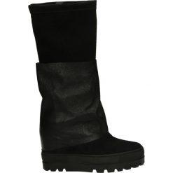 Kozaki - 706 C-P NERO. Czarne buty zimowe damskie marki Kazar, z futra, przed kolano, na wysokim obcasie, na koturnie. Za 299,00 zł.