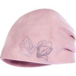 Czapki damskie: Różowa czapka z drobnymi cyrkoniami QUIOSQUE
