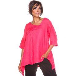 """Bluzki asymetryczne: Lniana koszulka """"Lys"""" w kolorze koralowym"""