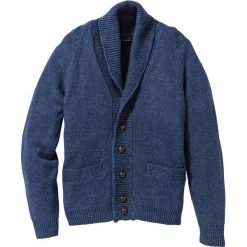 Sweter rozpinany Regular Fit bonprix ciemnoniebieski melanż. Niebieskie kardigany męskie bonprix, m, melanż, ze skóry. Za 59,99 zł.