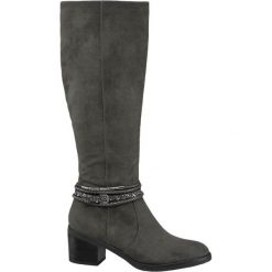 Kozaki damskie Graceland popielate. Czarne buty zimowe damskie marki Graceland, w kolorowe wzory, z materiału. Za 159,90 zł.