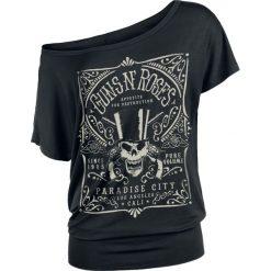 Guns N' Roses Paradise City Label Koszulka damska czarny. Czarne bluzki na imprezę marki Molly.pl, l, z dresówki, z kopertowym dekoltem, z krótkim rękawem. Za 99,90 zł.
