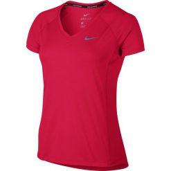Nike Koszulka damska Dry Miler Top V-Neck czerwona r. XS. Czarne topy sportowe damskie marki Nike, xs, z bawełny. Za 113,55 zł.