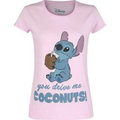 Lilo & Stitch Drive Me Coconuts Koszulka damska jasnoróżowy (Light Pink). Czerwone bluzki asymetryczne Lilo & Stitch, l, z nadrukiem, z okrągłym kołnierzem. Za 74,90 zł.