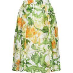 Spódnica szyfonowa z nadrukiem bonprix biało-zielonożółty z nadrukiem. Białe spódniczki rozkloszowane marki bonprix, w koronkowe wzory, z koronki. Za 89,99 zł.