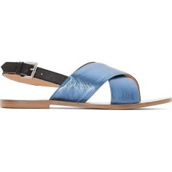 Rzymianki damskie: Skórzane sandały metalizowane ze skrzyżowanymi paskami