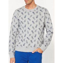 Bluza z okrągłym kołnierzem z nadrukiem. Szare bluzy męskie rozpinane marki La Redoute Collections, m, z bawełny, z kapturem. Za 71,82 zł.