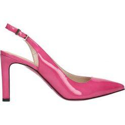 Czółenka SAVONA. Czerwone buty ślubne damskie Gino Rossi, w paski, z lakierowanej skóry, na wysokim obcasie, na szpilce. Za 99,90 zł.