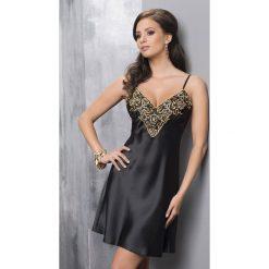 Luksusowa satynowa koszula Luna. Czarne koszule damskie Astratex, w kwiaty, z satyny, z kontrastowym kołnierzykiem. Za 130,99 zł.