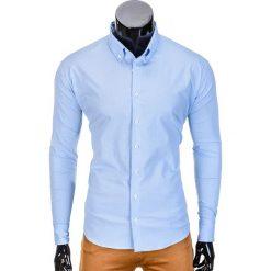 KOSZULA MĘSKA Z DŁUGIM RĘKAWEM K392 - BŁĘKITNA. Niebieskie koszule męskie na spinki Ombre Clothing, m, z kontrastowym kołnierzykiem, z długim rękawem. Za 59,00 zł.