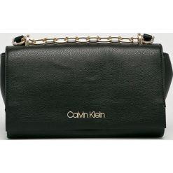 Calvin Klein - Torebka. Czarne torebki klasyczne damskie marki Calvin Klein, w paski, z materiału, średnie. Za 539,90 zł.
