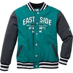 """Bluza rozpinana """"college"""" bonprix ciemnoszmaragdowo-antracytowy melanż. Zielone bluzy chłopięce rozpinane marki bonprix, m, melanż. Za 74,99 zł."""