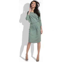 Oliwkowa Sukienka Midi z Zaznaczoną Talią. Zielone sukienki dzianinowe marki Molly.pl, na co dzień, l, z długim rękawem, midi, dopasowane. Za 129,90 zł.