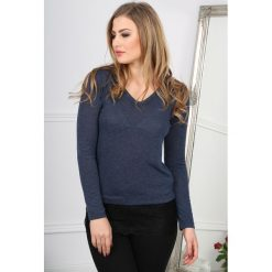 Granatowy Sweter z Koronką BB20761. Niebieskie swetry klasyczne damskie Fasardi, m, z koronki. Za 39,00 zł.