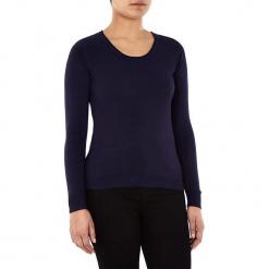 Sweter w kolorze granatowym. Niebieskie swetry klasyczne damskie marki William de Faye, z kaszmiru, z okrągłym kołnierzem. W wyprzedaży za 90,95 zł.
