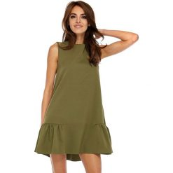 Sukienki: Khaki Wyjściowa Trapezowa Sukienka z Falbanką