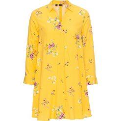 Bluzki damskie: Długa bluzka poszerzana dołem bonprix żółty kukurydziany w kwiaty