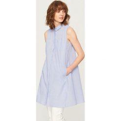 Odzież damska: Długa koszula bez rękawów - Granatowy
