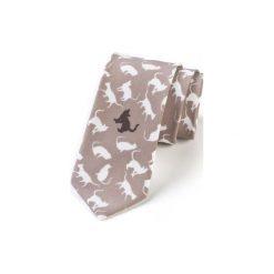 Krawat męski CZEROWNY KOT. Brązowe krawaty męskie HisOutfit, z materiału. Za 129,00 zł.
