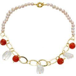 Naszyjniki damskie: Naszyjnik z perłami, kryształami i karneolitami – (D)50 cm
