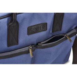 CIDRO Męska torba na ramię na laptopa niebieska. Niebieskie torby na ramię męskie marki Solier, w paski, ze skóry ekologicznej. Za 169,00 zł.
