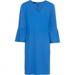 Sukienka z rękawami z falbanami bonprix lodowy niebieski. Niebieskie sukienki na komunię bonprix, z dekoltem w serek. Za 49,99 zł.