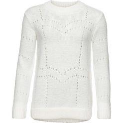 Swetry klasyczne damskie: Sweter w ażurowy wzór bonprix biel wełny