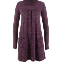 Długie sukienki: Sukienka shirtowa melanżowa, długi rękaw bonprix czarny bez melanż