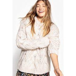 Kardigany damskie: Sweter z warkoczem, gruby splot, wełna