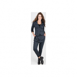 Spodnie damskie MIA SPORT w kratkę. Niebieskie spodnie ciążowe marki bonprix, z materiału, z dekoltem w serek. Za 259,90 zł.